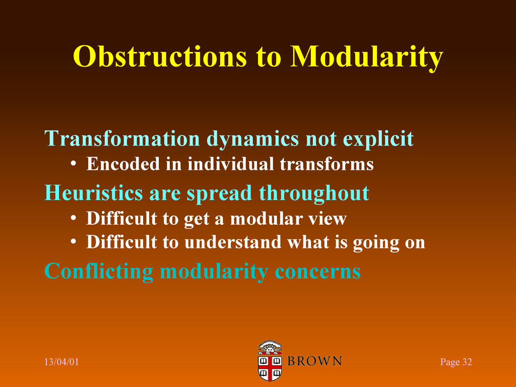 Obstructions to Modularity Transformation dynam...
