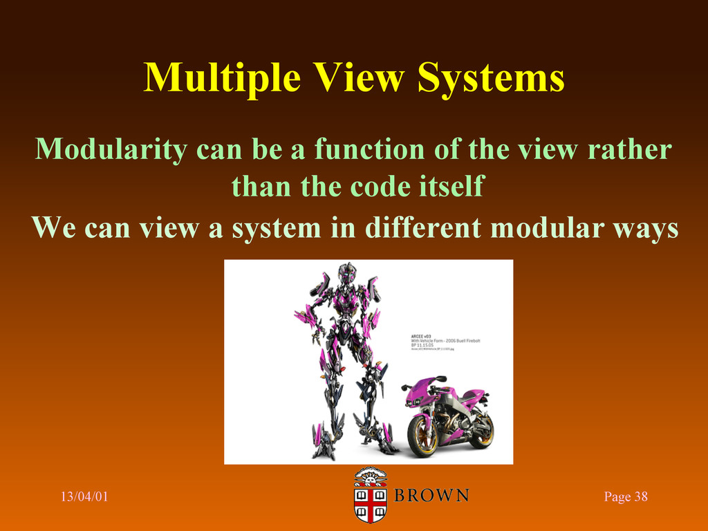 Multiple View Systems Modularity can be a funct...