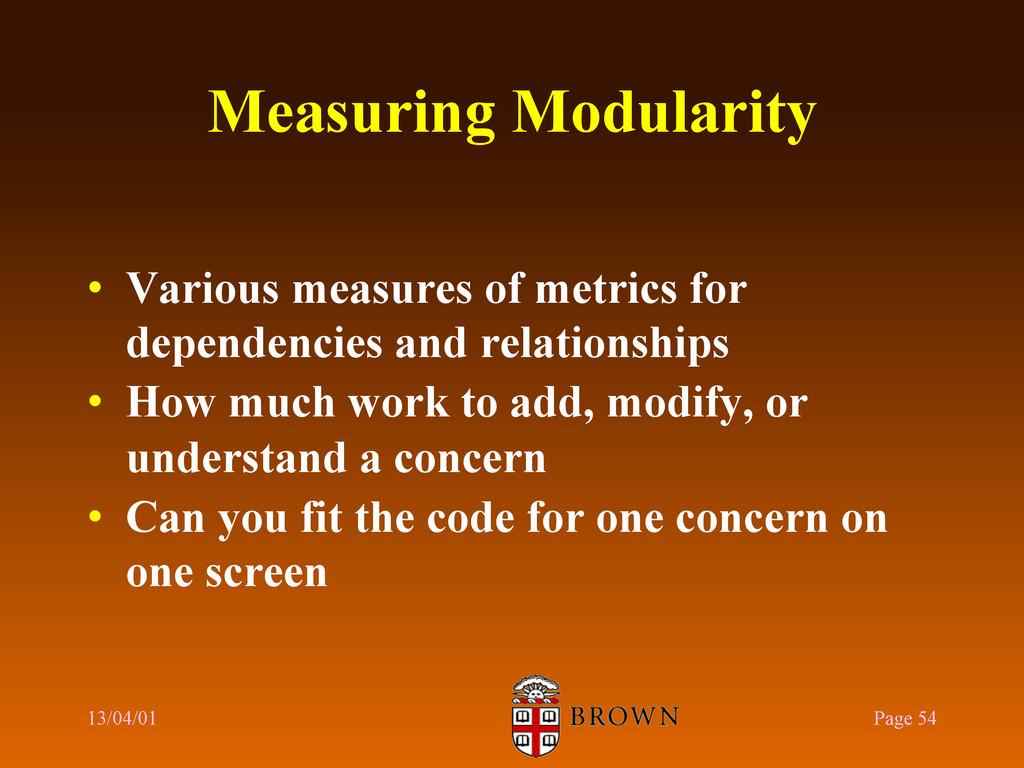 Measuring Modularity • Various measures of met...