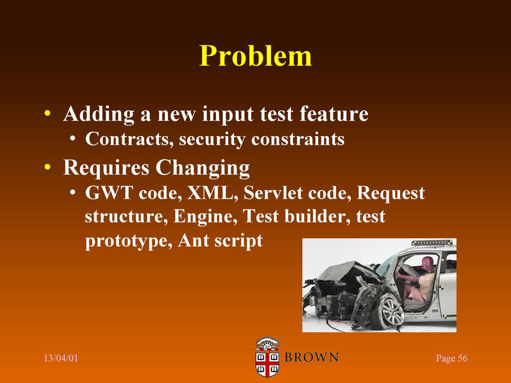 Problem • Adding a new input test feature • C...