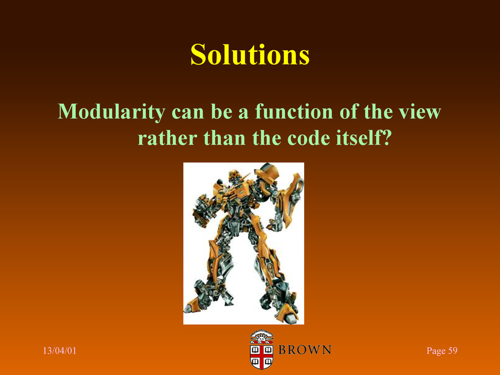 Solutions Modularity can be a function of the v...