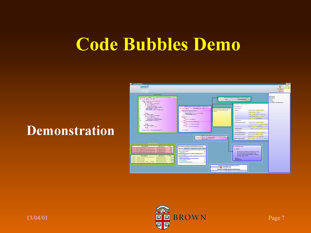 Code Bubbles Demo Demonstration 13/04/01 Page 7