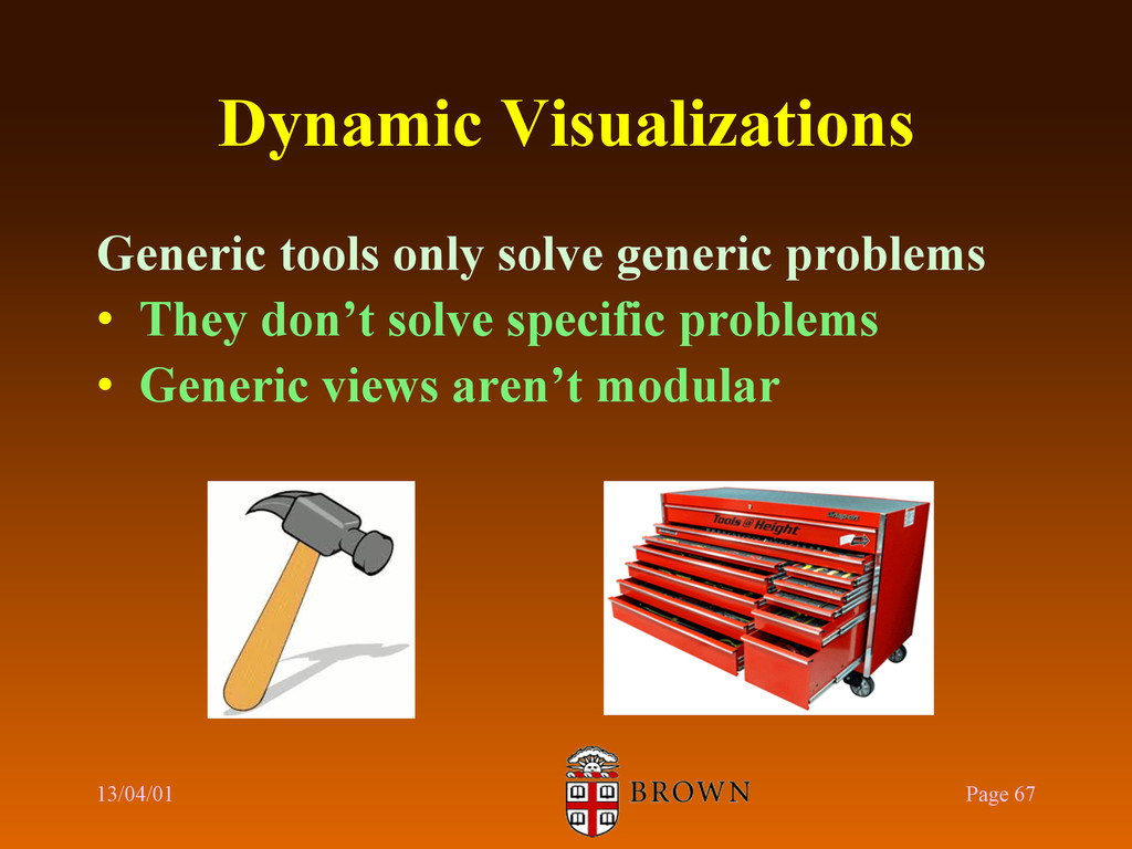 Dynamic Visualizations Generic tools only solve...