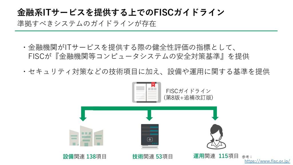 準拠すべきシステムのガイドラインが存在 ・⾦融機関がITサービスを提供する際の健全性評価の指標...