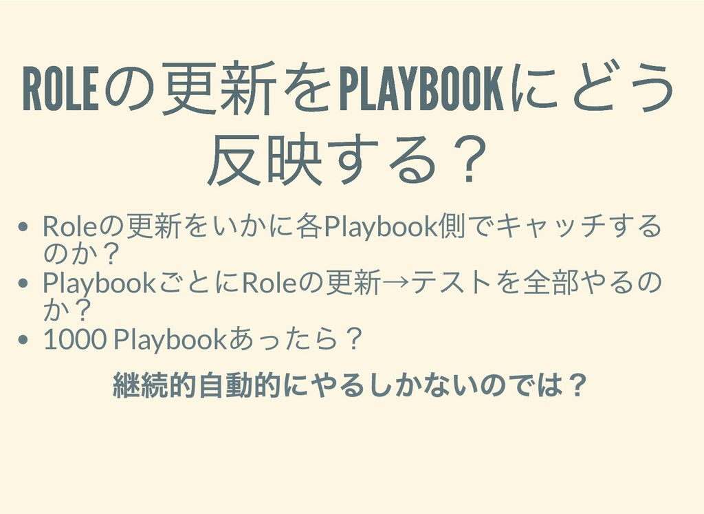 ROLE の更新をPLAYBOOK にどう ROLE の更新をPLAYBOOK にどう 反映す...