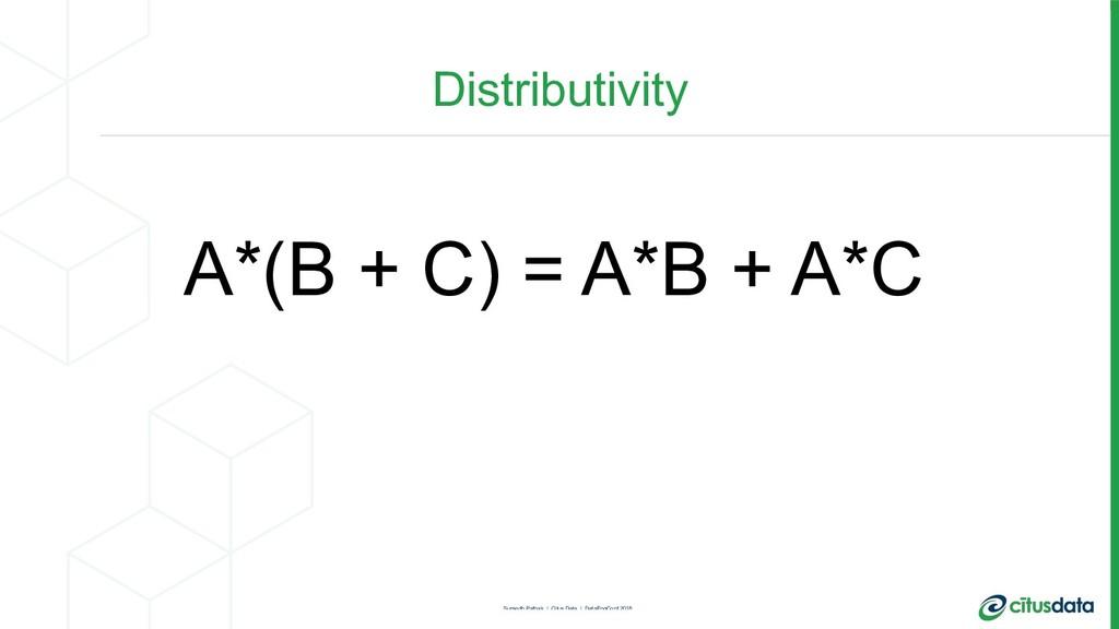 Distributivity A*(B + C) = A*B + A*C Sumedh Pat...