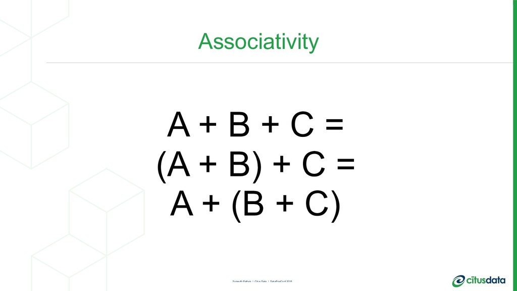 Associativity A + B + C = (A + B) + C = A + (B ...