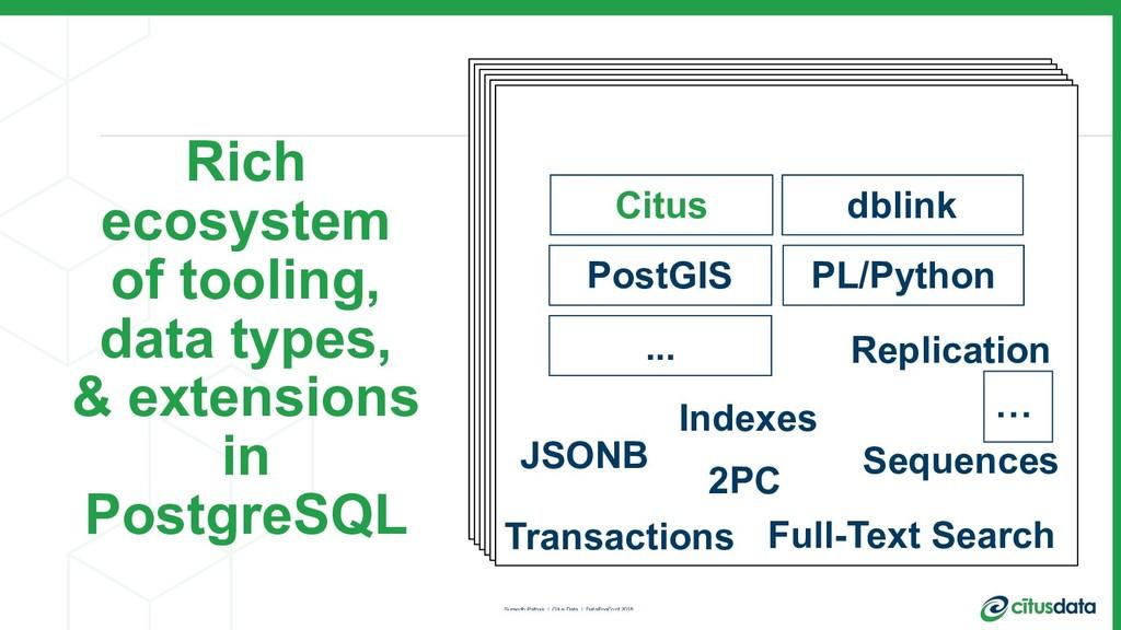 PostgreSQL Citus PostGIS PL/Python JSONB 2PC Re...