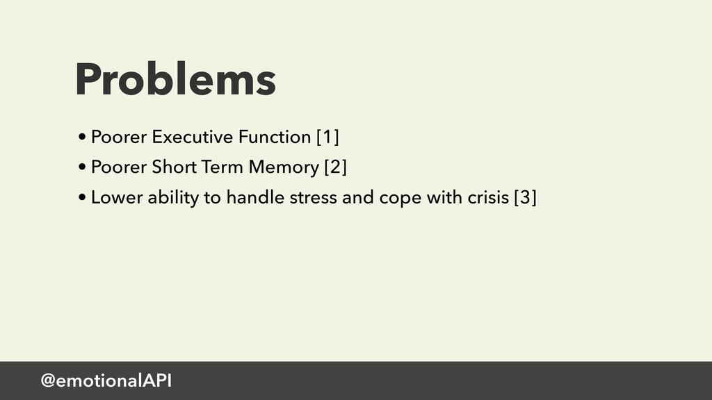 @emotionalAPI Problems • Poorer Executive Funct...