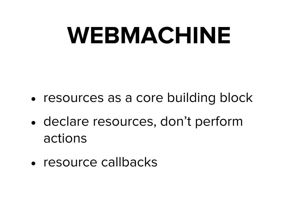 WEBMACHINE • resources as a core building block...