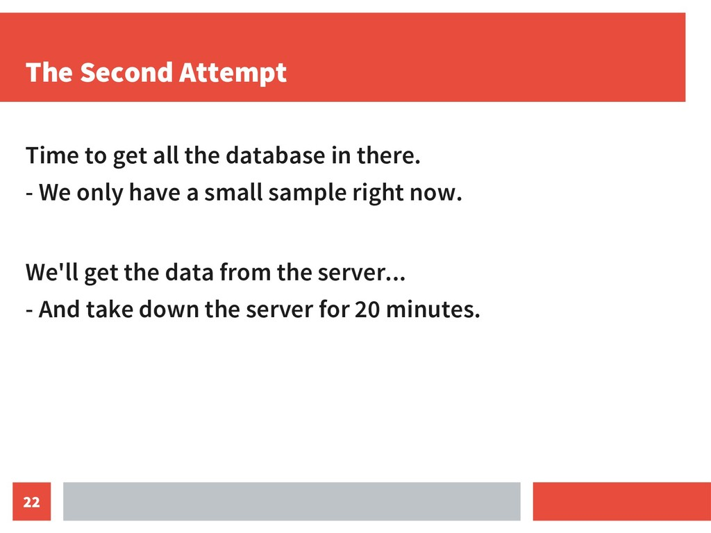 22 The Second Attempt Time to get all the datab...