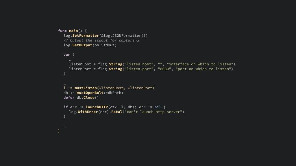 func main() { log.SetFormatter(&log.JSONFormatt...