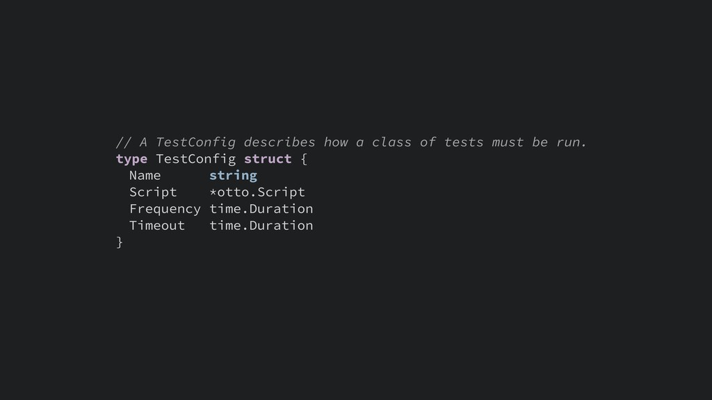 // A TestConfig describes how a class of tests ...
