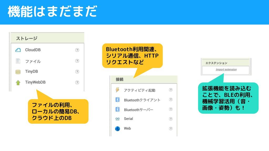 機能はまだまだ ファイルの利用、 ローカルの簡易DB、 クラウド上のDB Bluetooth利...
