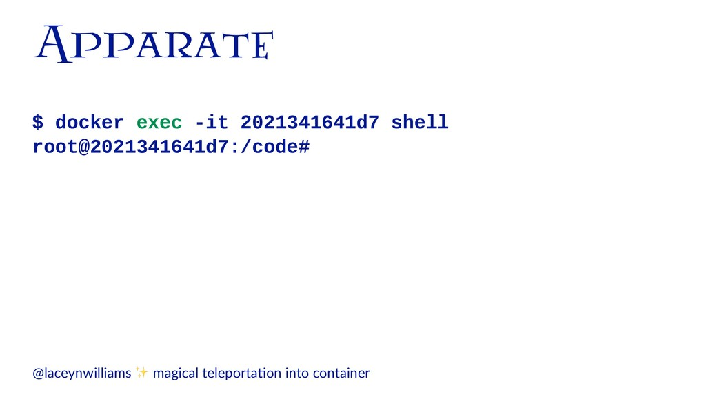 Apparate $ docker exec -it 2021341641d7 shell r...