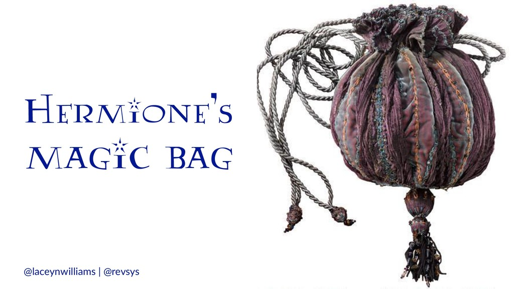 Hermione's magic bag @laceynwilliams | @revsys