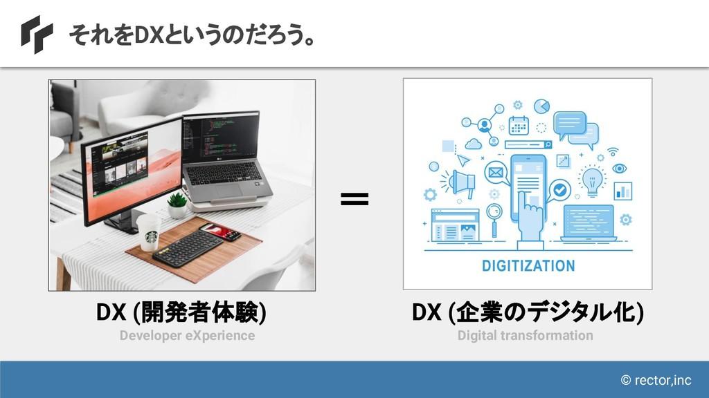 © rector,inc それをDXというのだろう。 Developer eXperience...