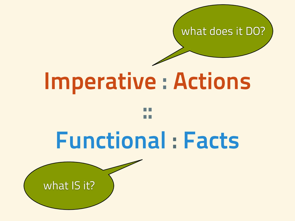 Imperative : Actions :: Functional : Facts wh...