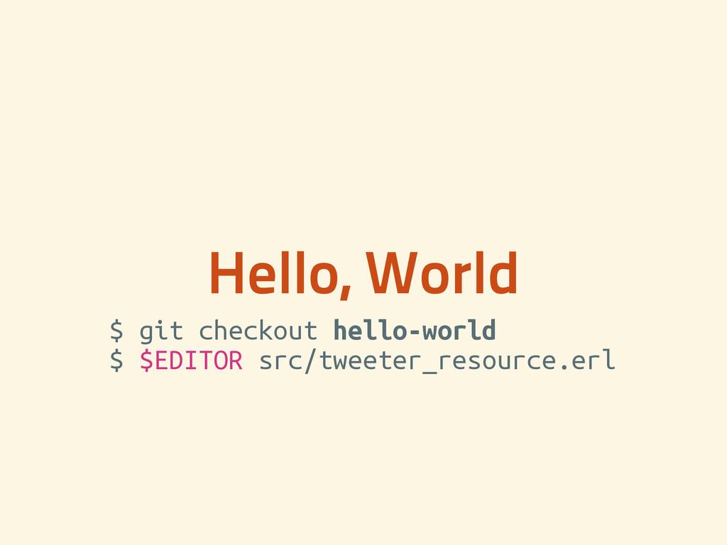 Hello, World $ git checkout hello-world $ $EDI...