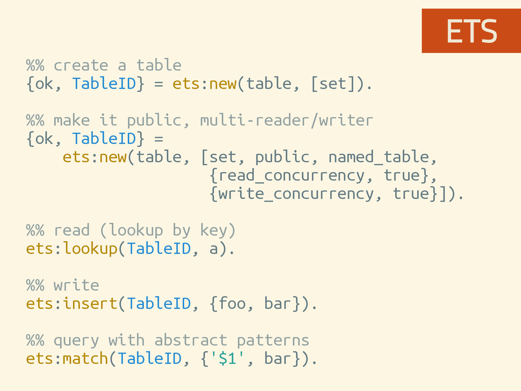 %% create a table {ok, TableID} = ets:new(table...
