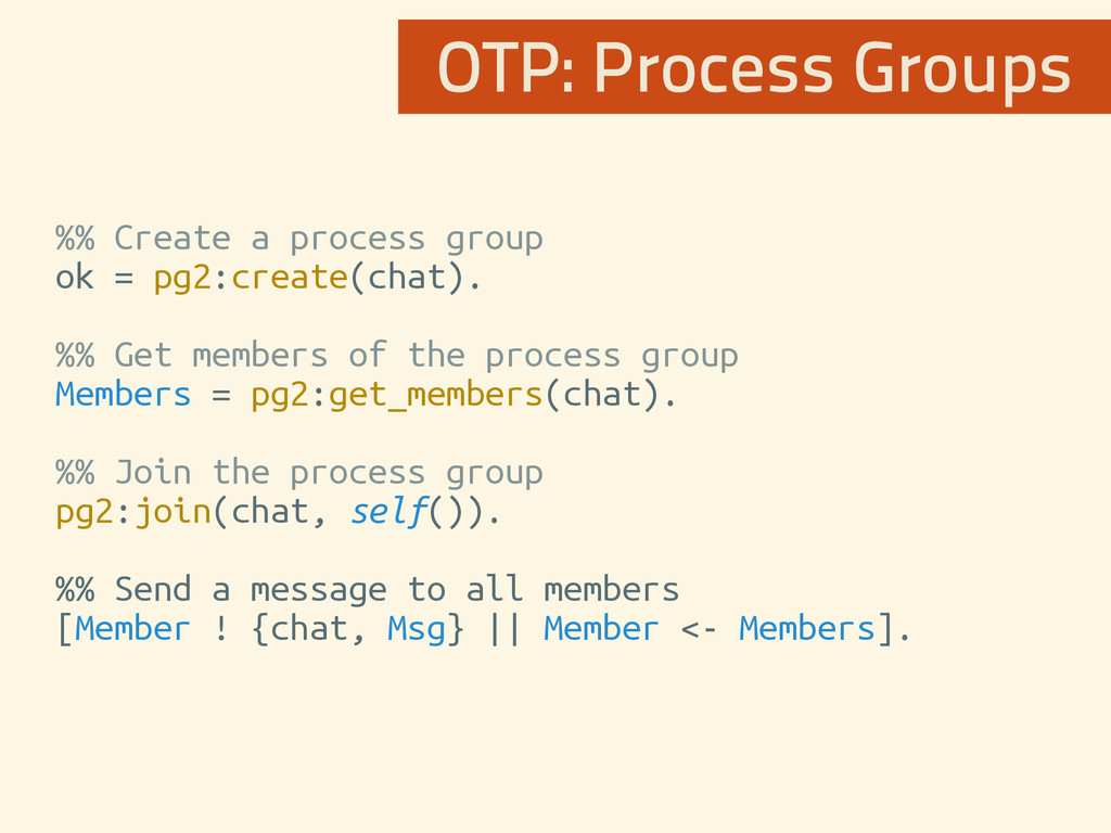 %% Create a process group ok = pg2:create(chat)...
