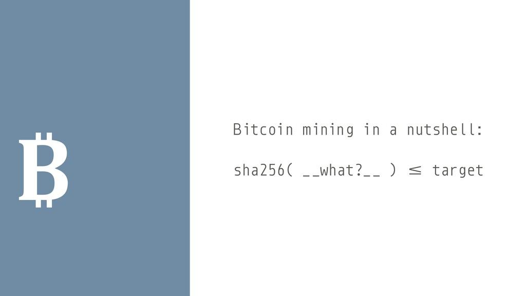 ₿ Bitcoin mining in a nutshell:   sha256( _ _ w...