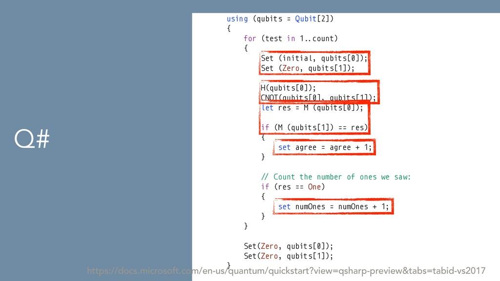 Q# using (qubits = Qubit[2])   {   for (test in...