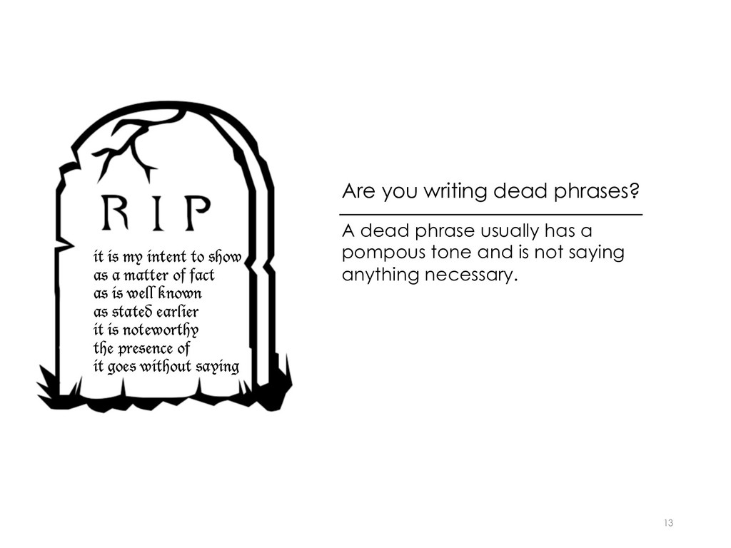 Are you writing dead phrases? 13 it is my inten...