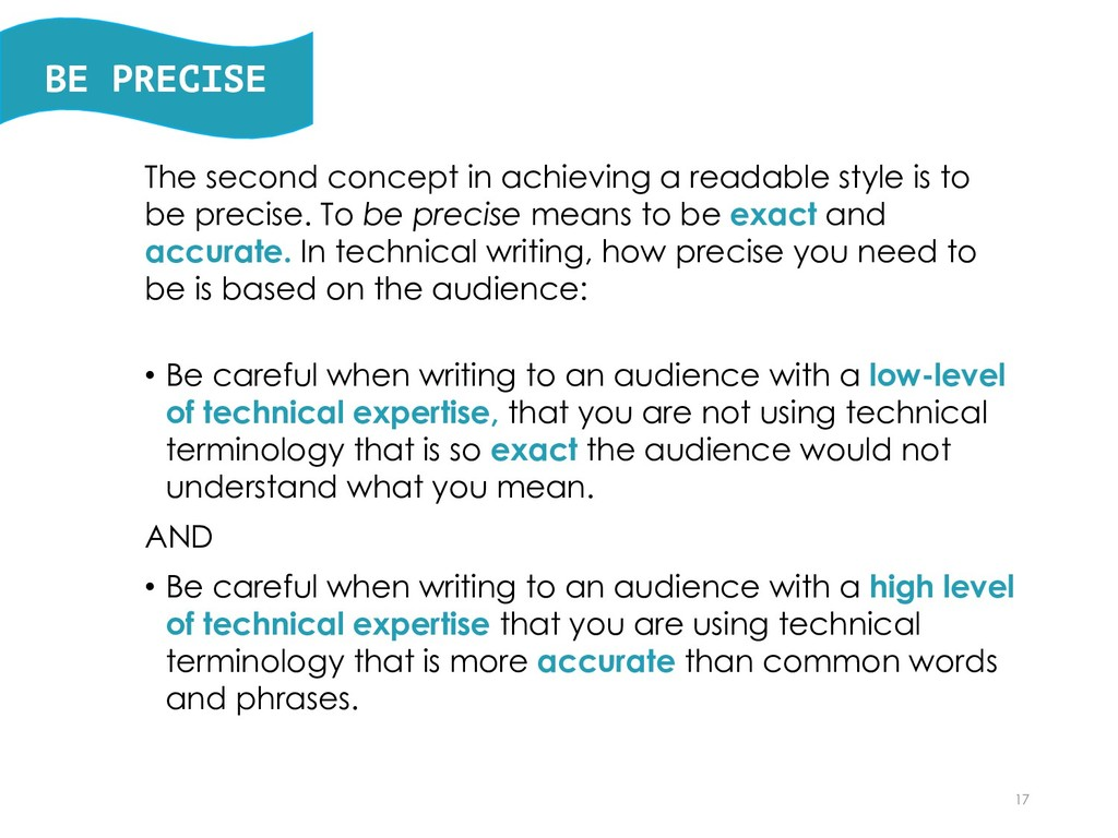 BE PRECISE The second concept in achieving a re...