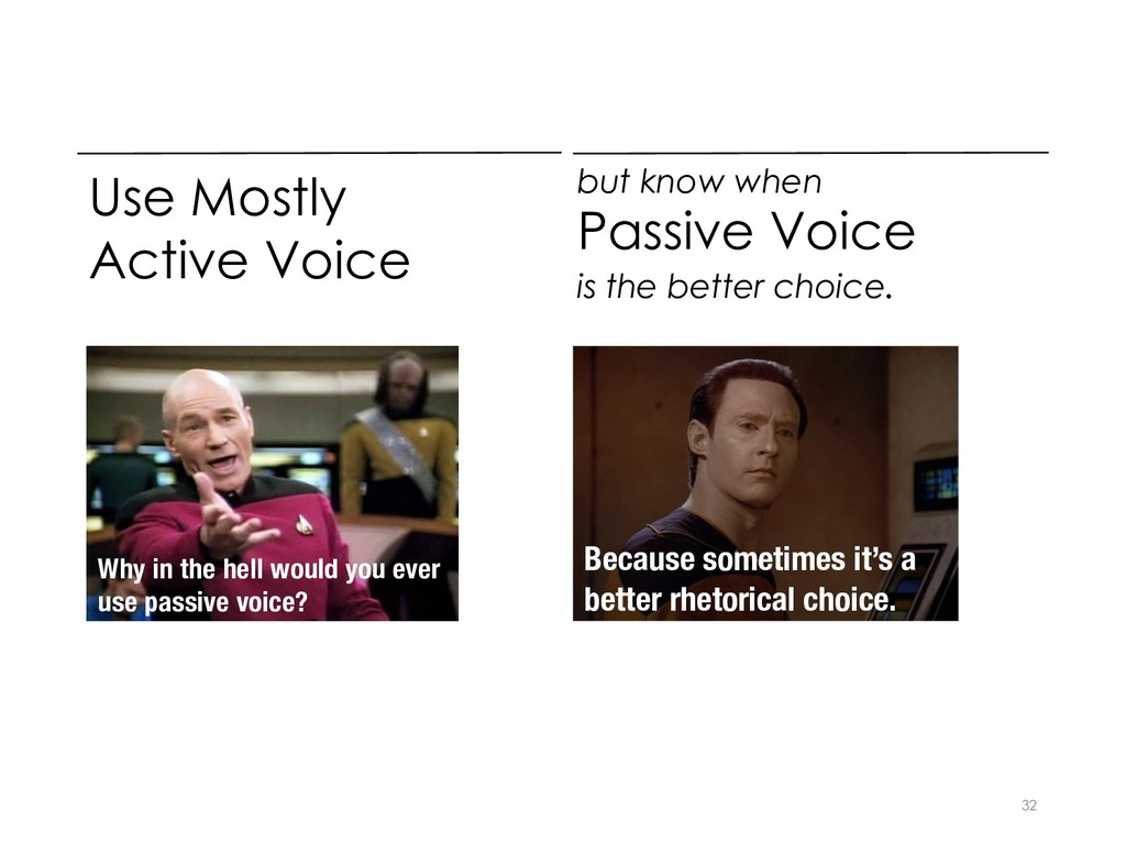 Use Mostly Active Voice 32 but know when Passiv...