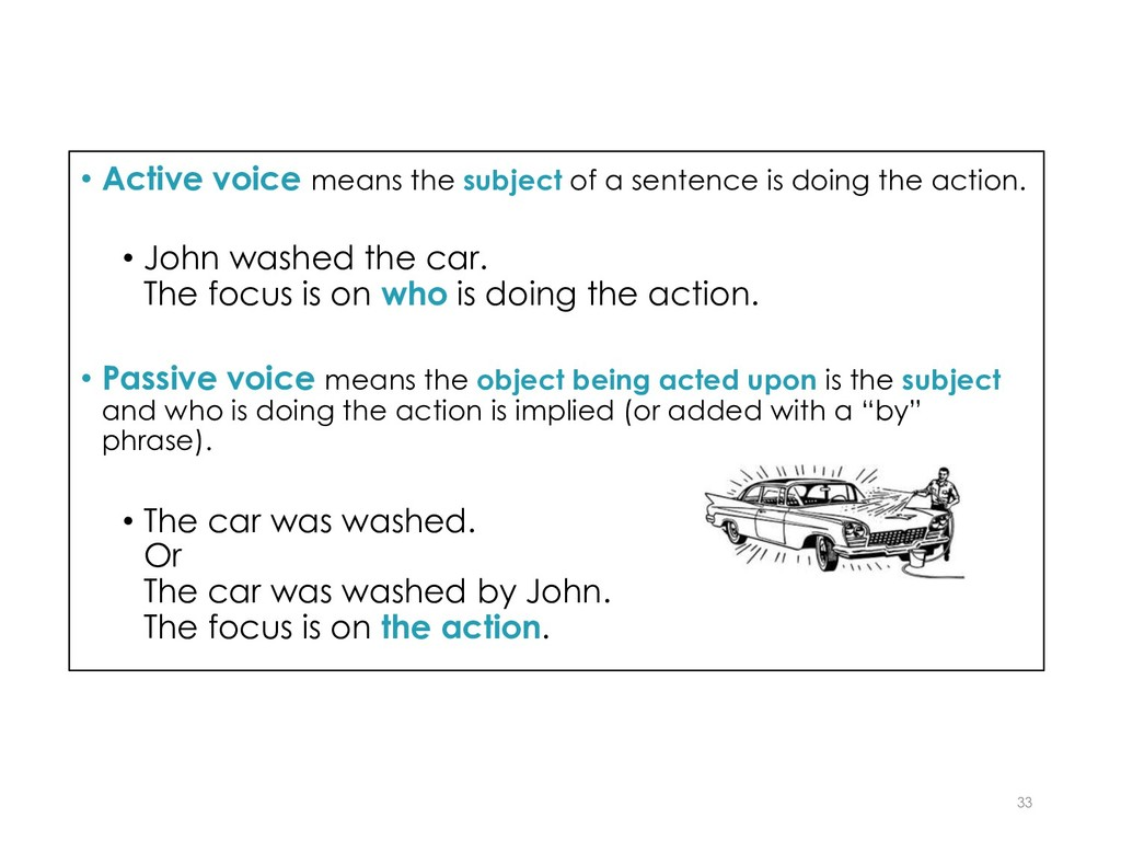 • Active voice means the subject of a sentence ...