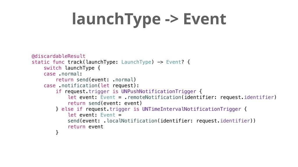 launchType -> Event @discardableResult static f...