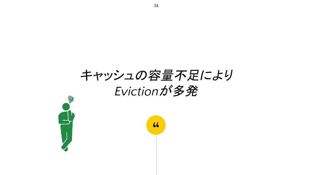 """"""" キャッシュの容量不足により Evictionが多発 34"""