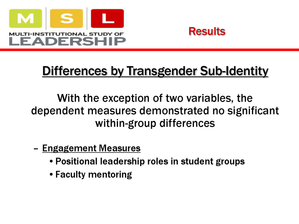 Results Differences by Transgender Sub-Identity...