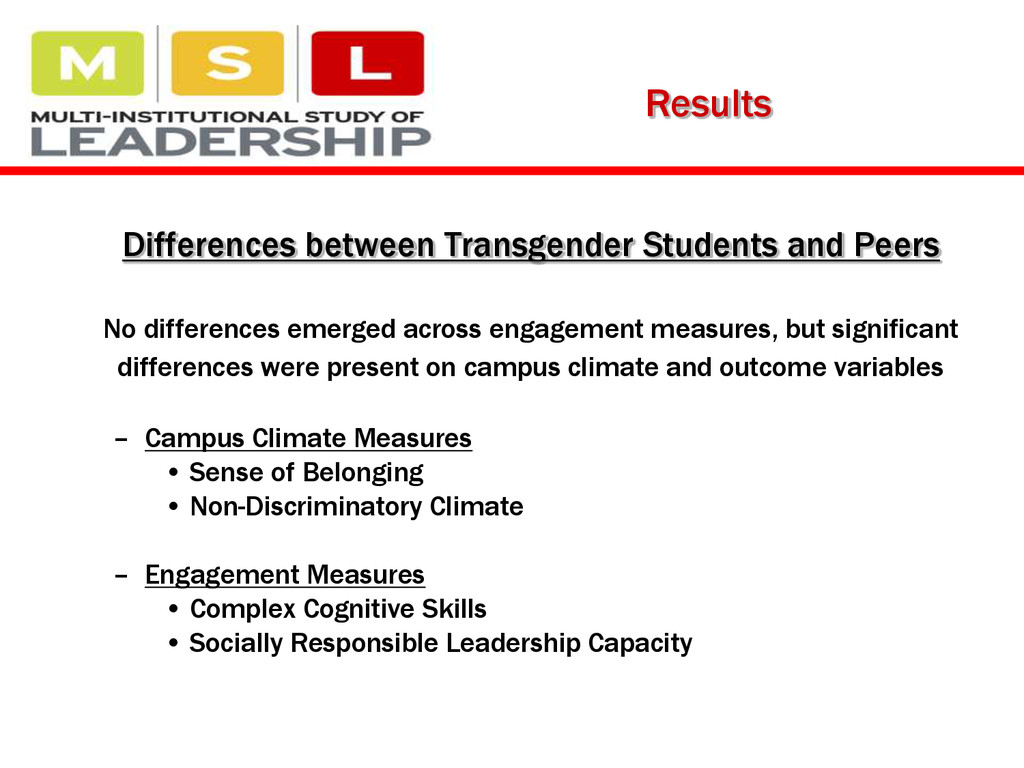 Results Differences between Transgender Student...