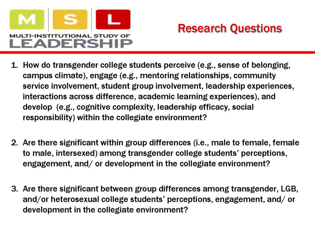 1. How do transgender college students perceive...