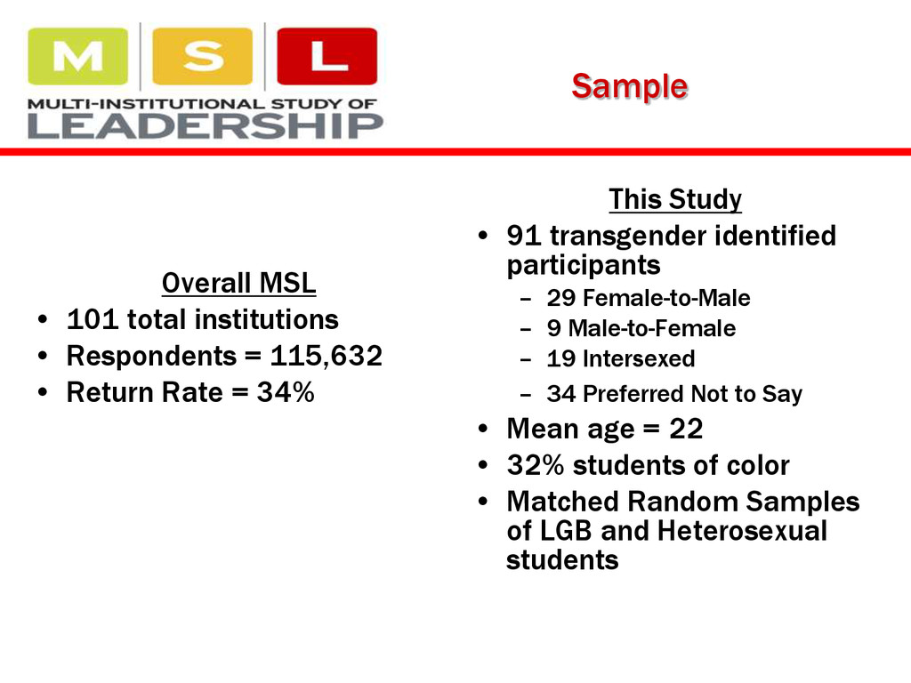 Sample Overall MSL • 101 total institutions • R...