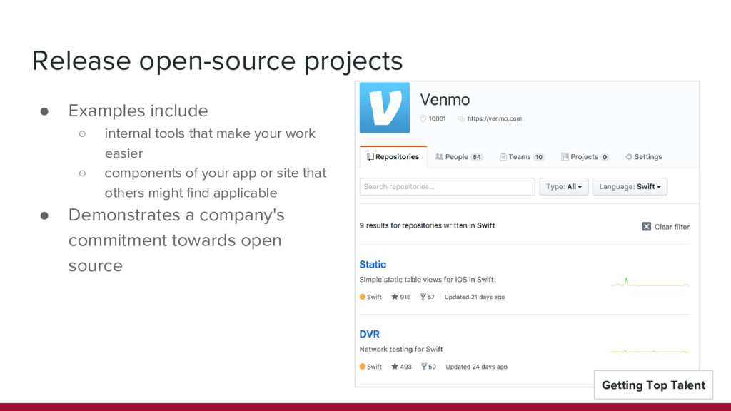 Release open-source projects ● Examples include...