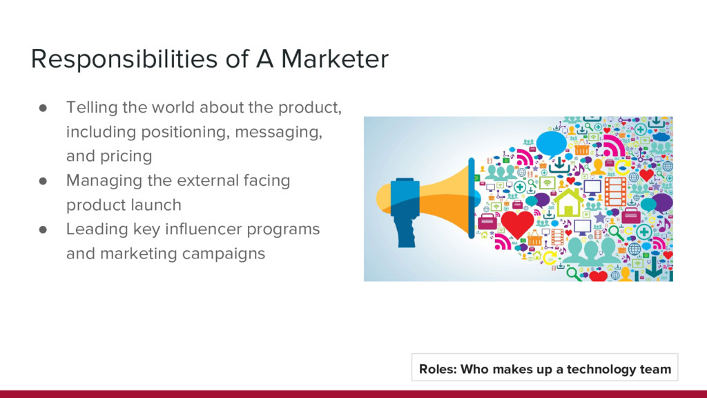 Responsibilities of A Marketer ● Telling the wo...