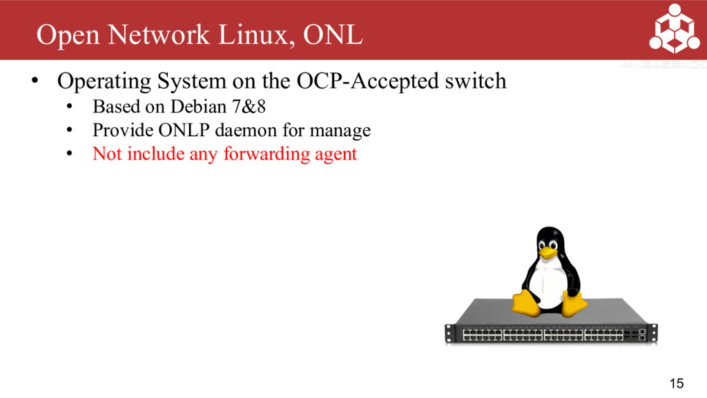 15 Open Network Linux, ONL • Operating System o...