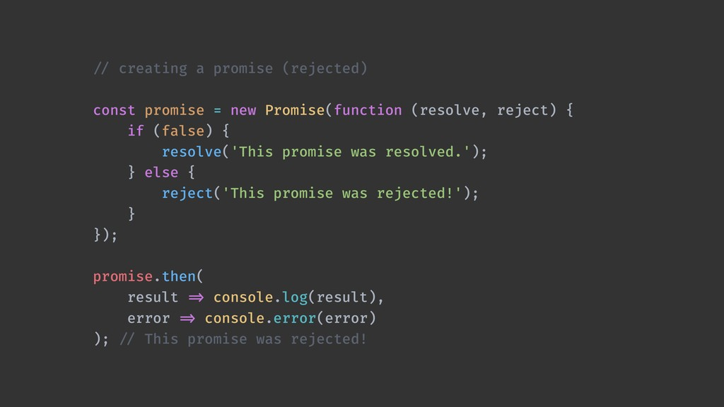!// creating a promise (rejected) const promise...