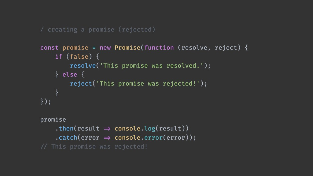 / creating a promise (rejected) const promise =...