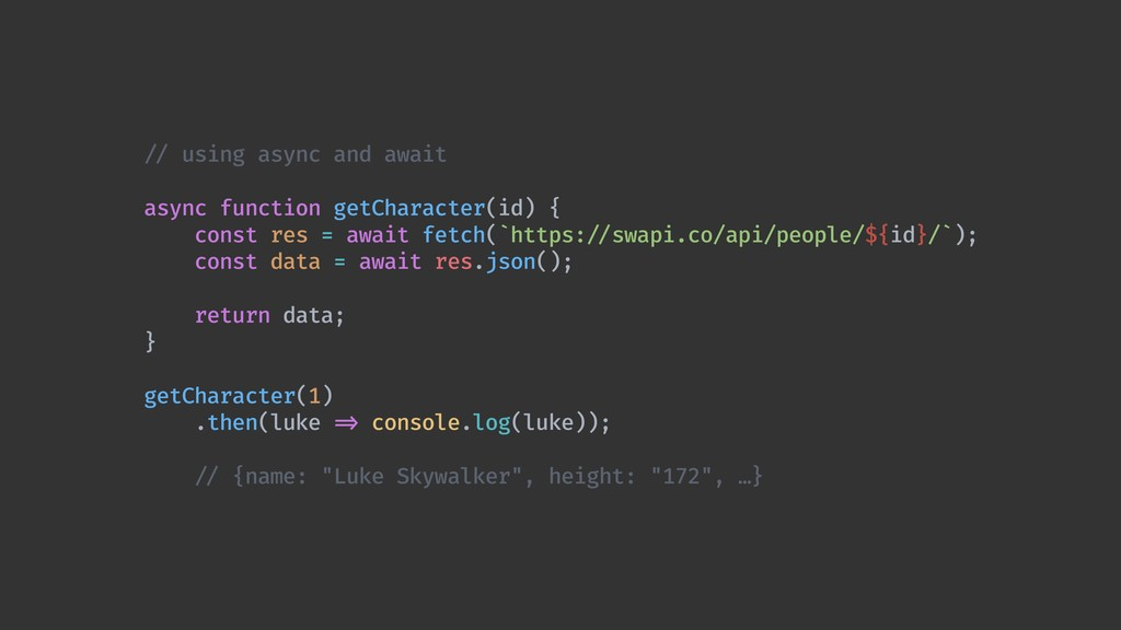 !// using async and await async function getCha...