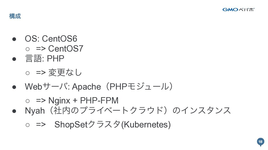 18 ߏ ● OS: CentOS6 ○ => CentOS7 ● ݴޠ: PHP ○ =>...