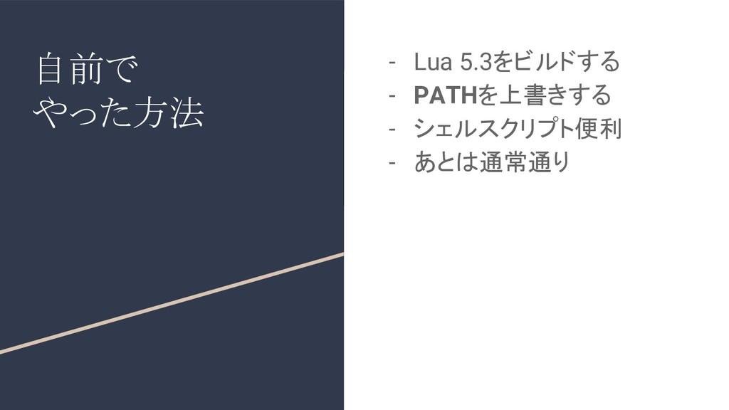自前で やった方法 - Lua 5.3をビルドする - PATHを上書きする - シェルスクリ...