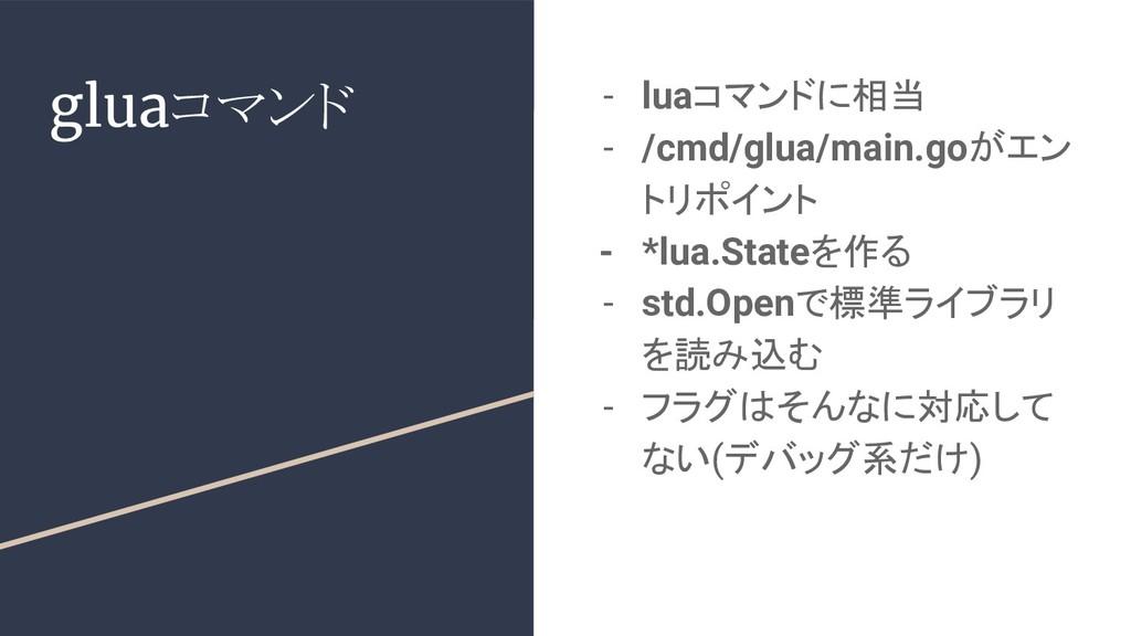 gluaコマンド - luaコマンドに相当 - /cmd/glua/main.goがエン トリ...