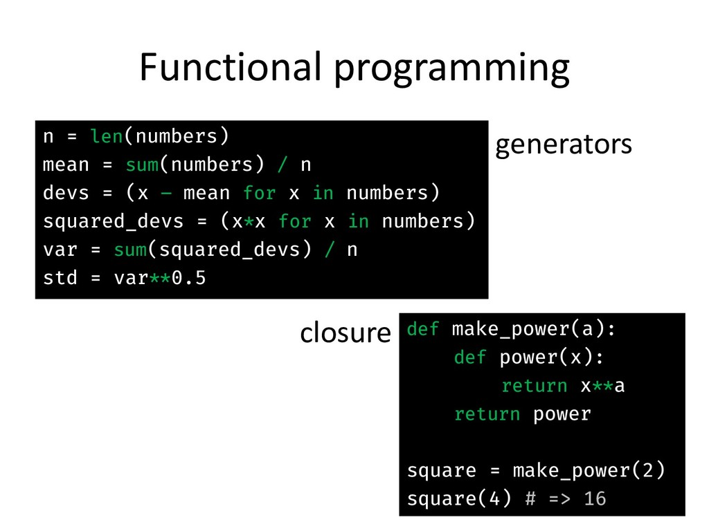 Functional programming generators n = len(numbe...