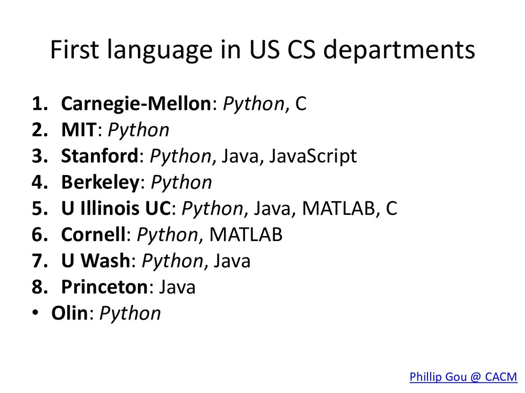 First language in US CS departments 1. Carnegie...
