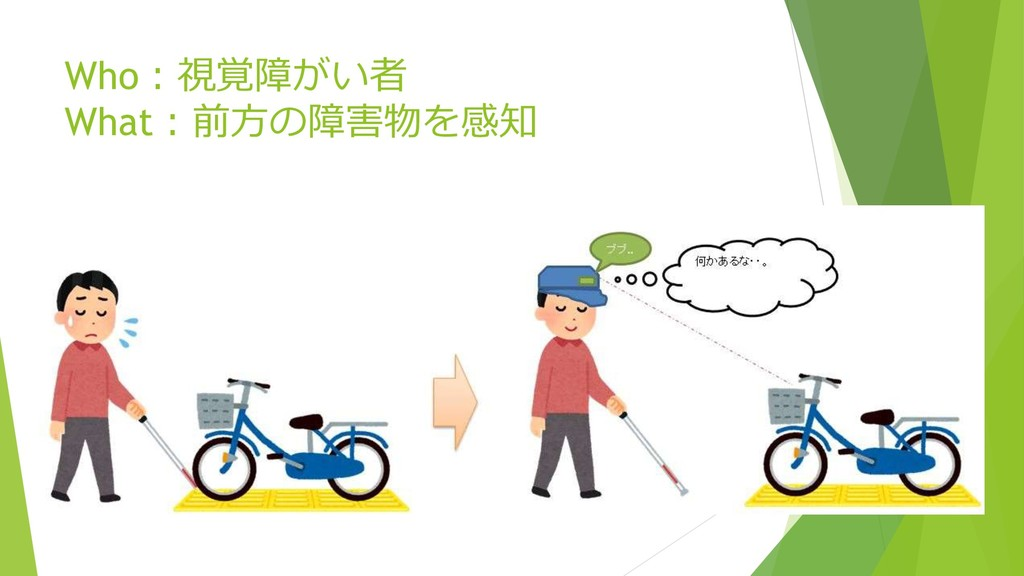 Who:視覚障がい者 What:前方の障害物を感知