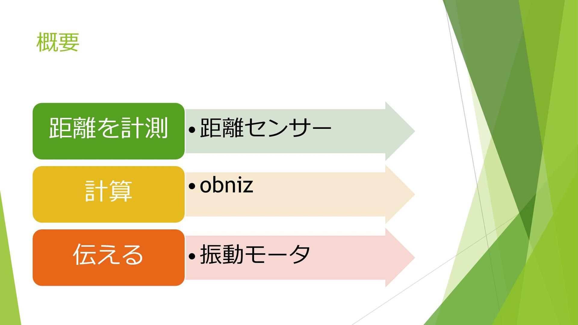 概要 •距離センサー 距離を計測 •obniz 計算 •振動モータ 伝える